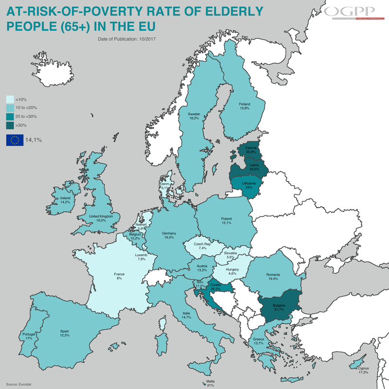 At-risk-of-poverty rate of elderly people in the EU prahic